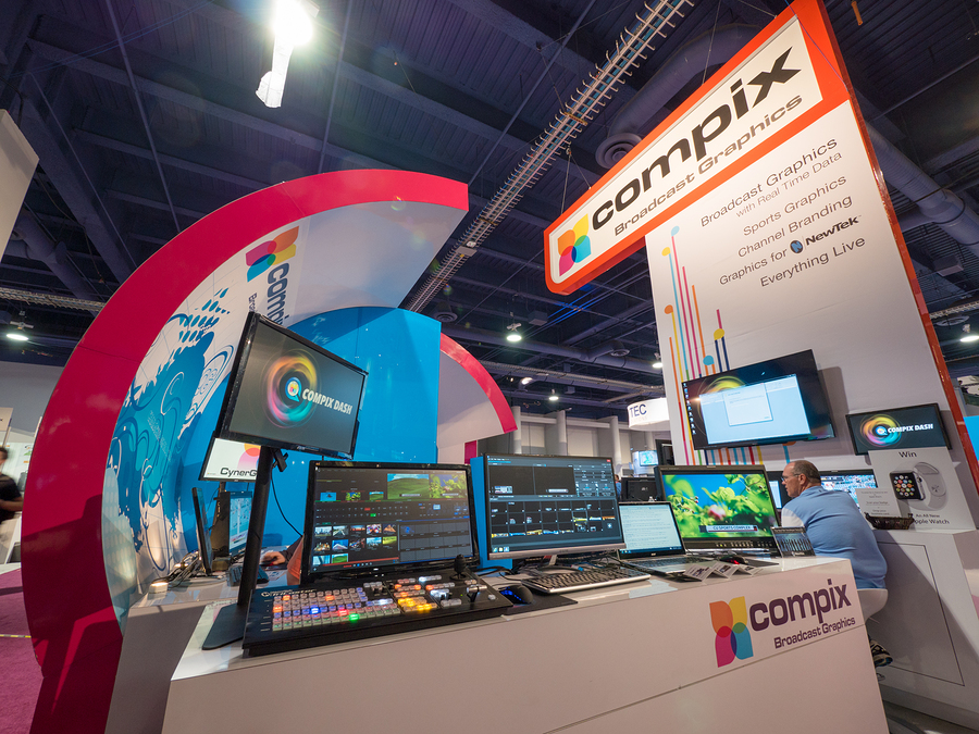 LAS VEGAS, NV - April 15: Compix broadcast graphics booth at NAB Show 2015, an annual trade show by the National Association of Broadcasters.